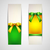 Multicolored banners with bows Stock Photo