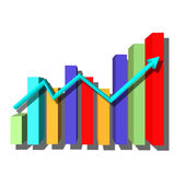 Multicolored bar graph. With arrow Stock Photography