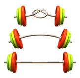 Multicolored barbells Royalty Free Stock Photos