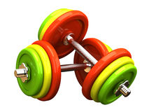 Multicolored barbells Royalty Free Stock Image
