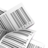 Multicolored barcodes sticker label white. Bar codes stickers over a white background stock photos