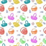 Multicolored baskets pattern Stock Photo