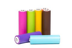Multicolored Batteries Royalty Free Stock Images