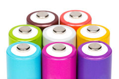 Multicolored Batteries Royalty Free Stock Image