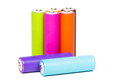 Multicolored Batteries Royalty Free Stock Photos