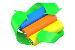 Multicolored batteries with symbol recycle Stock Photo