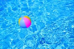 swimming pool beach ball background. Multicolored Beach Ball In Swimming Pool. Detail Of A  Pool Beach Background