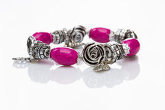 Multicolored beads bracelet in the form of roses Royalty Free Stock Photo