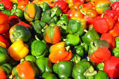 Multicolored Bell Peppers at Farmer's Market. A large pile of green, red and yellow bell peppers out in the sun on a sale table at a farmer's market Royalty Free Stock Images