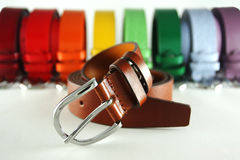 Multicolored belts royalty free stock photo