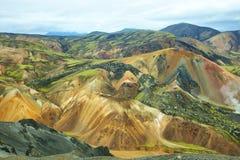 Multicolored bergen in Landmannalaugar, stock foto's