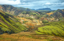 Multicolored bergen in Landmannalaugar, stock foto