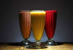 Multicolored berry smoothies. royalty free stock photo