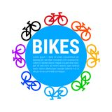 Multicolored Bicycle Icons and Blue Circle Background. Vector Illustration stock illustration