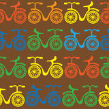Multicolored bikes of seamless pattern Royalty Free Stock Image