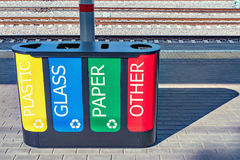 Multicolored bin for separate waste collection. Royalty Free Stock Photo