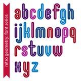 Multicolored binary striped distinct font, geometric Stock Images