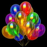 Multicolored birthday party balloons bunch. celebrate decoration. Festive colorful. anniversary greeting card design element. 3d illustration. isolated on black Royalty Free Stock Images