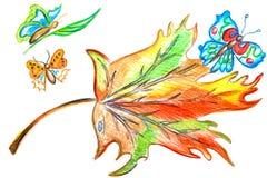 Multicolored bladvlinder Stock Foto's