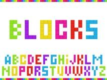 Multicolored blocks alphabet royalty free illustration