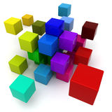 Multicolored blocks background. 3D rendering of a multicolored cubic background Royalty Free Stock Images