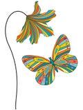 Multicolored bloem met vlinder Royalty-vrije Stock Fotografie