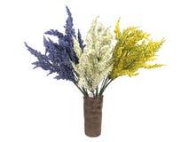 Multicolored bloemen in een vaas op witte achtergrond wordt geïsoleerd die Stock Fotografie