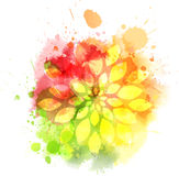 Multicolored blot with flower Royalty Free Stock Images