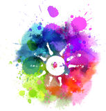 Multicolored blot with sun symbol Royalty Free Stock Photography
