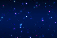 Multicolored and blue stars on a blue background Royalty Free Stock Photos