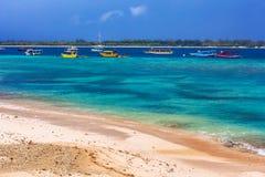 Azure shore of Gili Trawangan, Indonesia. royalty free stock images