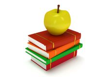 Multicolored book tower with yellow apple. On the top,  on white background. 3d render of studing illustration. Back to school Stock Photo