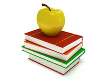 Multicolored book tower with yellow apple. On the top,  on white background. 3d render of studing illustration. Back to school Royalty Free Stock Photos