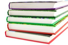 Multicolored books stack isolated Stock Image
