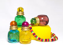 Multicolored bottles Stock Images