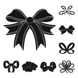 Multicolored bows black icons in set collection for design.Bow for decoration vector symbol stock web illustration. Stock Image