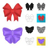Multicolored bows cartoon,black,flat,monochrome,outline icons in set collection for design.Bow for decoration vector. Symbol stock  illustration Stock Photo