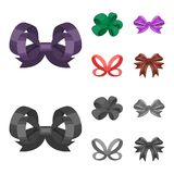 Multicolored bows cartoon,black,flat,outline icons in set collection for design.Bow for decoration vector symbol stock Stock Image