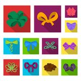 Multicolored bows flat icons in set collection for design.Bow for decoration vector symbol stock web illustration. Stock Photo