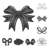 Multicolored bows monochrome icons in set collection for design.Bow for decoration vector symbol stock web illustration. Stock Photo