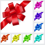 Multicolored bows of ribbon Stock Photos