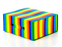 Multicolored box. On white background stock images