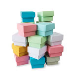 Multicolored boxes on a white background Stock Photos