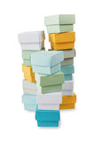 Multicolored boxes on a white background Stock Photo