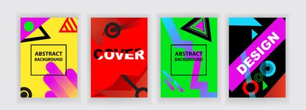 Multicolored bright abstract background. Set of four banners. Abstract as Bauhaus style. Multicolored bright abstract background. Set of four banners. Cover Royalty Free Stock Images