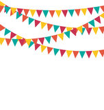 Multicolored bright buntings flags garlands isolated on white Royalty Free Stock Photo