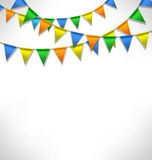 Multicolored bright buntings garlands on grayscale Stock Photos
