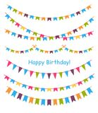 Multicolored bright buntings garlands. Multicolored bright buntings garlands isolated on white background. Design elements for decoration of greetings cards Royalty Free Stock Images
