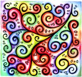 Multicolored bright colorful pattern hand-drawn abstract chaotic linear black curls and spirals on iridescent rainbow background. Multicolored bright colorful stock illustration