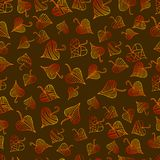 Multicolored, bright decorative leaves seamless pattern, psyched stock illustration